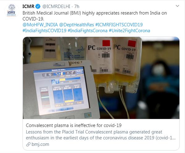Convalescent Plasma is Ineffective for COVID-19