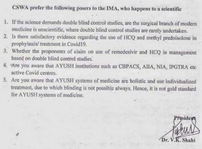 Questions of CSWA to Indian Medical Association