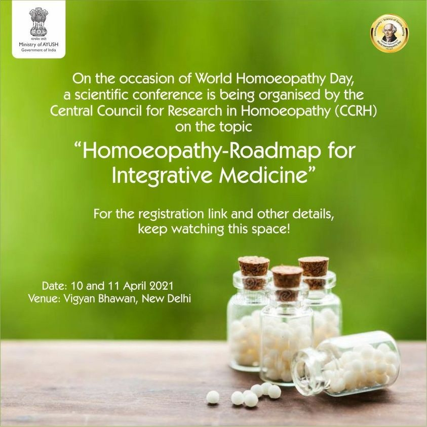 """On World Homoeopathy Day 2021 CCRH is going to organise a conference on """"Homoeopathy – Roadmap for Integrative Medicine"""""""