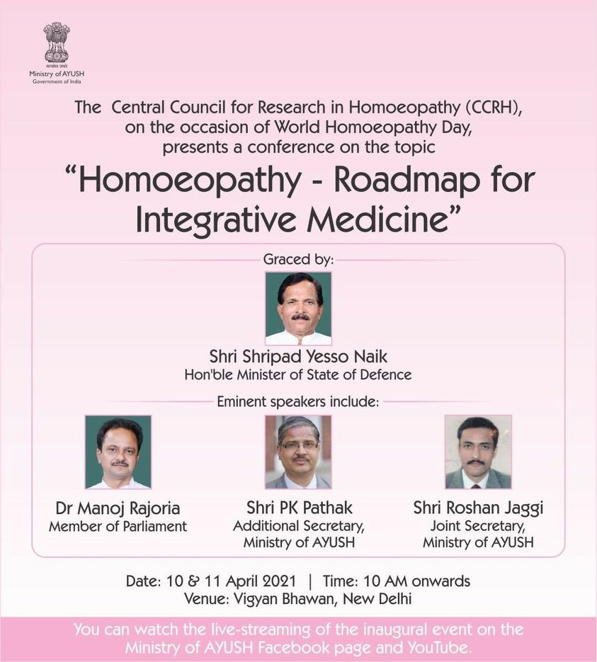 """On the Occasion of World Homoeopathy Day 2021, Ministry Of AYUSH Published Details about the Upcoming Conference """"Homoeopathy – Roadmap for Integrative Medicine"""", Organising by CCRH"""