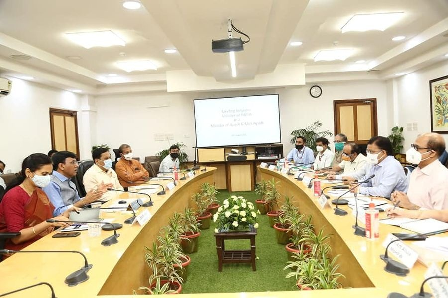 Read more about the article The Future of the Indian Health Care Delivery System lies in the Integration of AYUSH in Public health : 1st Joint Meeting of Both Departments decided yesterday