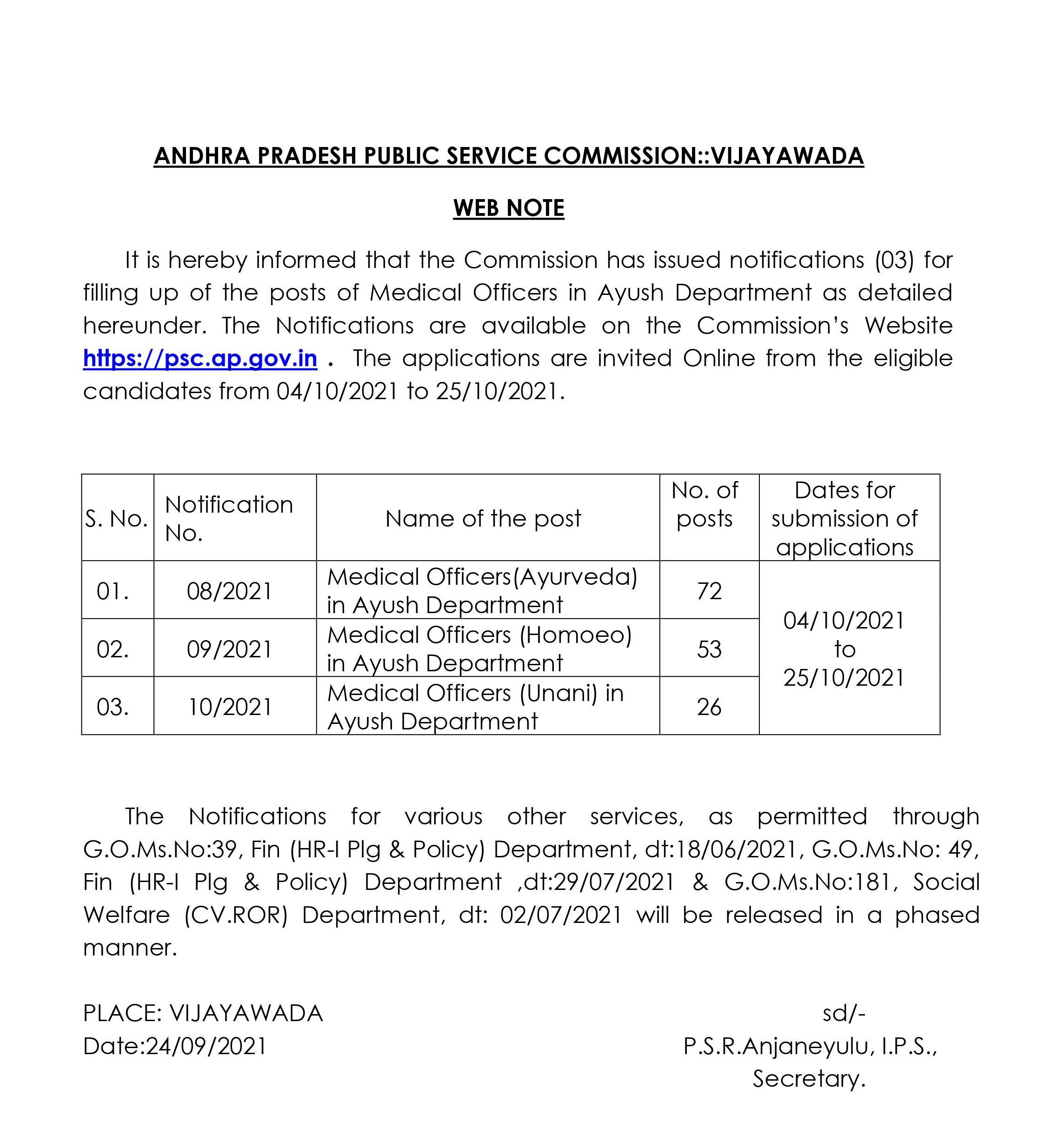 Andhra Pradesh PSC Recruitment 2021