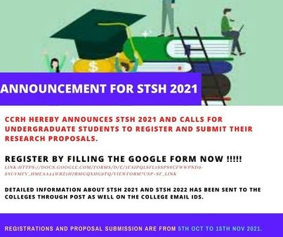Read more about the article STSH 2021 : CCRH announces the awaited Scholarship Program Short Term Studentship (STSH) in Homoeopathy 2021 !!
